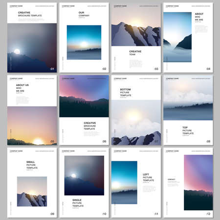 A4 brochure layout of covers templates for flyer leaflet, A4 brochure design, presentation, magazine, book. Fog, sunrise in morning and sunset in evening. Nature landscape backgrounds with mountains. Иллюстрация