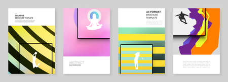 A4 brochure layout of covers templates for flyer leaflet, A4 brochure design, presentation, magazine cover, book. Abstract colored sport backgrounds in unique style for sport event, fitness design.