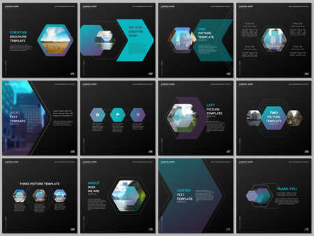 Minimal brochure templates with colorful hexagonal design background, hexagon style pattern. Covers design templates for square flyer, leaflet, brochure, report, presentation, advertising, magazine. Иллюстрация
