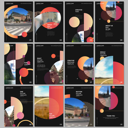 A4 brochure layout of covers design templates for flyer leaflet, A4 format brochure design, report, presentation, magazine cover, book design. Simple background with circles, geometric round shapes.
