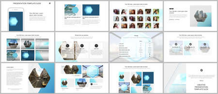 Presentation design vector templates, multipurpose template for presentation slide, flyer, brochure cover design, infographic report. Abstract geometric pattern. Corporate identity business concept. Иллюстрация