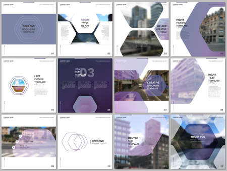 Minimal brochure templates with hexagonal design violet color pattern background. Covers design templates for square flyer, leaflet, brochure, report, presentation, advertising, magazine.