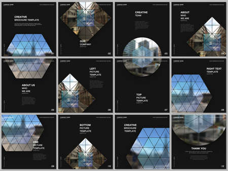 Brochure layout of square format covers design templates for square flyer leaflet, brochure design, report, presentation, magazine cover. Abstract geometric backgrounds with simple triangle shapes. Иллюстрация