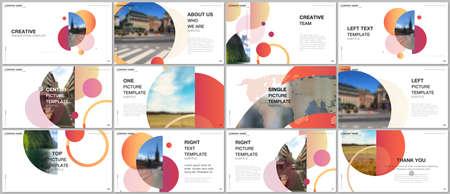 Presentation design vector templates, multipurpose template for presentation slide, flyer, brochure cover design, infographic report. Simple design background with circles, geometric round shapes. Иллюстрация
