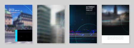 A4 brochure layout of covers design templates for trendy technology design modern electro music flyer leaflet, A4 format brochure design, report, presentation, magazine cover, book design.