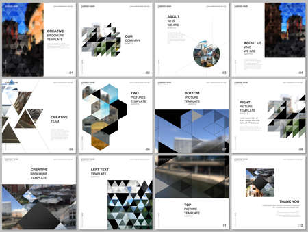 Brochure layout of square covers design templates with triangles, triangular pattern for square flyer leaflet, brochure design, report, presentation, magazine cover. Background with place for photo.