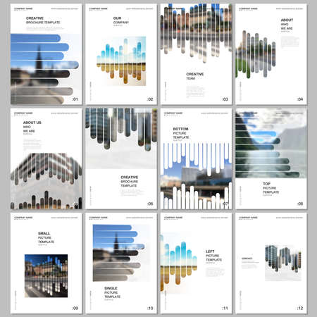 A4 brochure layout of covers design templates for flyer leaflet, A4 brochure, report, presentation, magazine cover, book. Background template with lines, photo place for business design. Minimal style