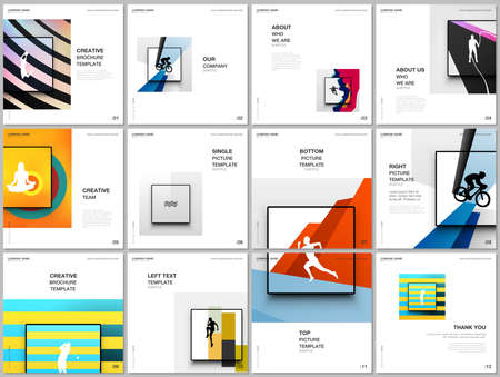 Brochure layout of square covers design templates for square flyer leaflet, brochure design, presentation, magazine cover. Abstract colored sport backgrounds for sport event, fitness design.