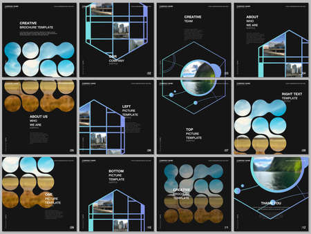 Brochure layout of square format covers templates for square flyer leaflet, brochure design, report, presentation, magazine cover. Abstract smart technology design with hexagons and place for photo.