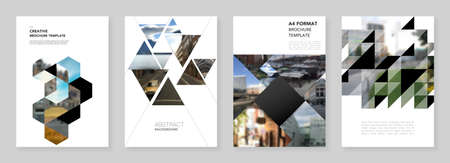 A4 brochure layout of covers design template with triangles, triangular pattern for flyer leaflet, A4 brochure design, report, presentation, magazine cover, book design.Background with place for photo Иллюстрация