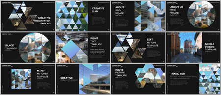 Presentation design vector templates, multipurpose template with triangles, triangular pattern for presentation slide, flyer, brochure cover design, infographic report. Background with place for photo