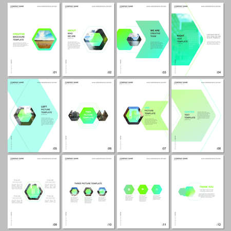 Creative brochure templates with colorful hexagonal design background, hexagon style pattern. Covers design templates for flyer, leaflet, brochure, report, presentation, advertising, magazine.