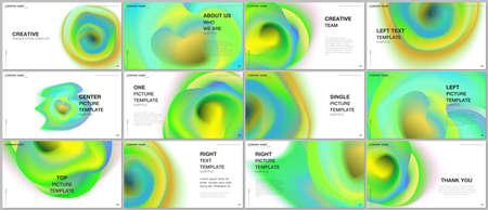 Presentation design vector templates, multipurpose template for presentation slide, flyer, brochure cover design, infographic presentation. Colorful gradient fluid background with dynamic liquid forms