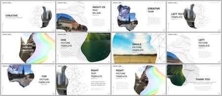 Presentation design vector templates, multipurpose template for presentation slide, flyer, brochure cover design, infographic report. Simple minimal design background with geometric curved shapes. Иллюстрация
