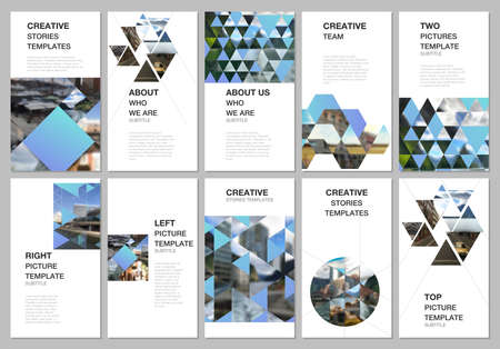 Social media design, vertical banner or flyer templates with triangles, triangular pattern. Background with place for photo. Covers design templates for flyer, leaflet, brochure cover, banner. Иллюстрация