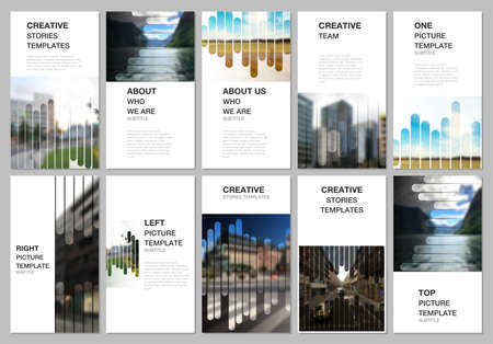 Social networks stories design, vertical banner or flyer templates. Covers template for flyer, leaflet, brochure cover, advertising. Background template with lines, photo place for business design.