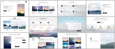 Vector templates for website design, presentations, portfolio, presentation slides, brochure cover, report. Fog, sunrise in morning and sunset in evening. Nature landscape backgrounds with mountains.