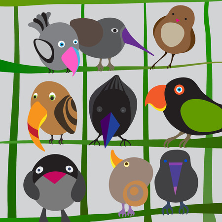 birdies: Vector birds on branches. Colorful set of different isolated birdies. Cartoon pretty birds illustration.