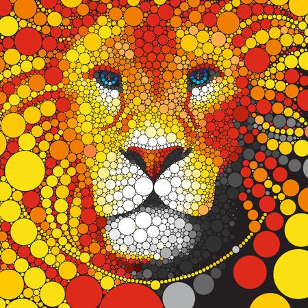 leones: Círculos Vector Lion. La cara estilizada del depredador. A partir del retrato del león animal con círculos melena. Cabeza de león de elementos circulares de colores aislados en negro.