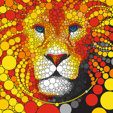 Vector Lion circles. The stylized face of the predator. Effective portrait animal lion with mane circles. Lion head of round colorful elements isolated on black.