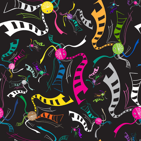 arachnid: Abstract vector spiders pattern. Bright colorful isolated spiders insects on black background. Illustration