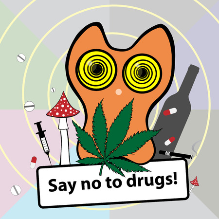 Say No to Drugs vector illustration. Social banner about narcotic dependence. Cartoon depended cute cat character with drugs, marijuana, dope, opiate, hop, soporific, alcohol, ganja, cigarette, pills, hashish, heroin, smoke, hallucinogenic, narcotic addic Ilustração