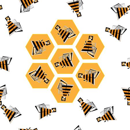 the bee: Abejas del vector en el patrón de panal ilustración. Colmena vuelo geométrico abstracto. Vectores