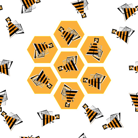 bee: Vector bees in honeycomb pattern illustration. Abstract geometric flying beehive. Illustration