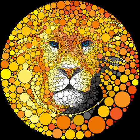 Abstract lion round portrait. Animal vector background.