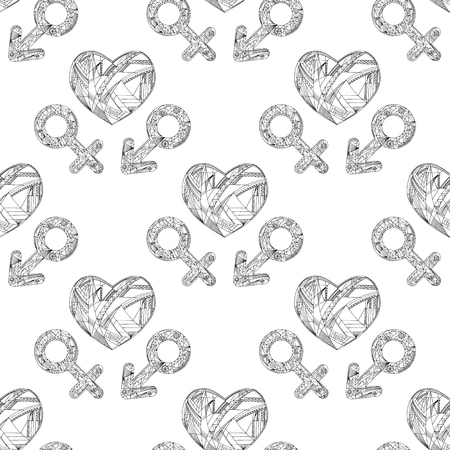 gender identity: Vector abstract male and female gender signs and hearts pattern. Hand drawn sexual identity symbols seamless texture. Illustration