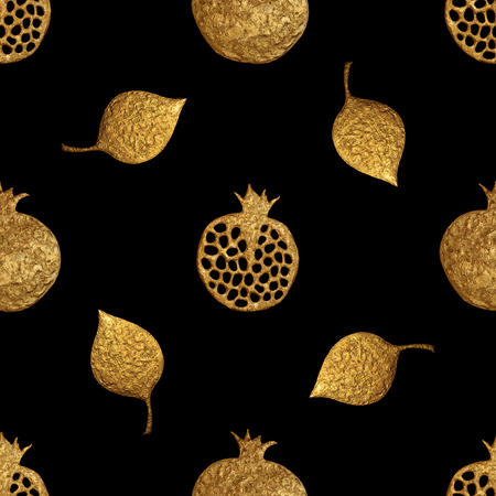 Gold abstract pomegranate seamless pattern. Hand painting shiny background. Summer fruit golden illustration.