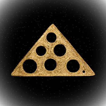 Vector gouden hand getrokken etnische tribale element geïsoleerd op zwarte achtergrond. Gouden naadloos patroon.
