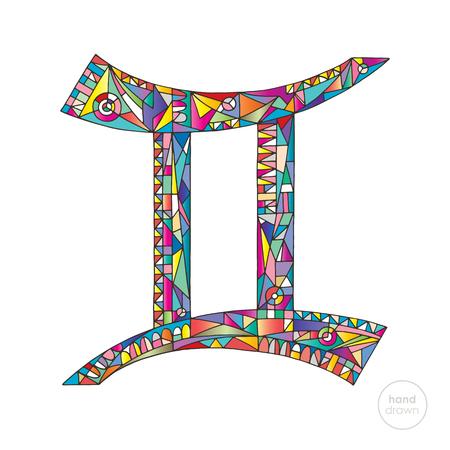 ジェミニ干支サイン。ホロスコープベクターイラスト。占星術の手描きシリーズ。モダンなスタイルで魔法のシンボル。 写真素材 - 88967533
