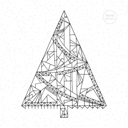 Rbol De Navidad Para Colorear. Dibujado A Mano Abstracta Vacaciones ...