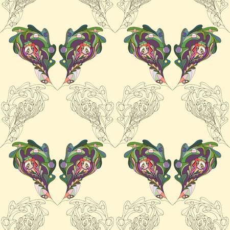 Oak leaves hand drawn seamless pattern. Abstract leaf paisley vector background in modern style. Nature texture for wallpaper, wrapping paper, textile design, surface, fabric.