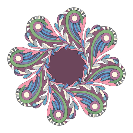 Abstract Oak leaves and Paisley frame border. Floral leaf banner. Hand drawn cartoon nature vector illustration.