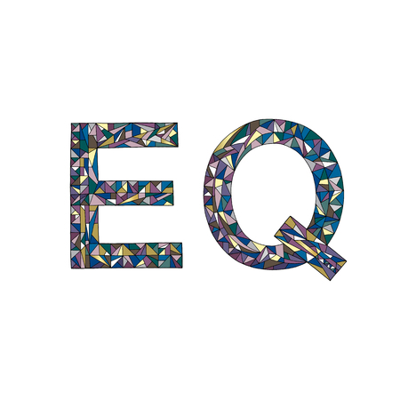 EQ hand drawn sign vector illustration. Emotional quotient design.