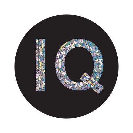 IQ hand drawn sign vector illustration. Intelligence quotient design