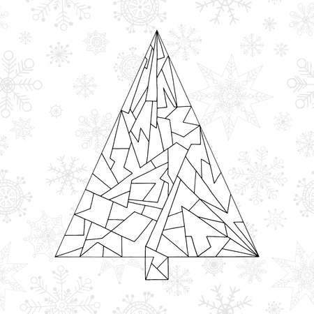 Christmas tree coloring book. Hand drawn abstract winter holidays vector illustration. Xmas background in modern style.