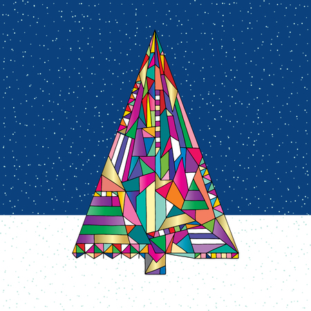 Christmas tree vector illustration in modern style. Hand drawn Happy New Year background. Winter Xmas holidays design. Ilustrace