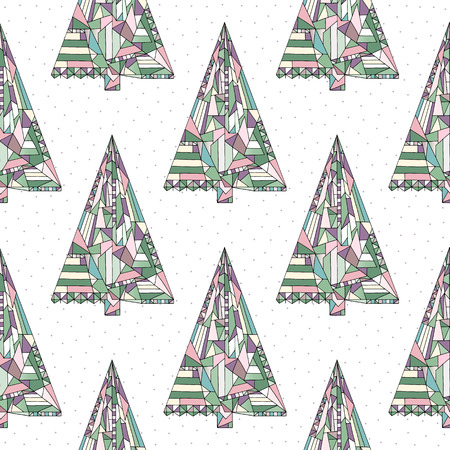 Christmas tree vector seamless pattern. Happy New Year background in modern style. Winter Xmas holidays texture for surface design, textile, wrapping paper, wallpaper, phone case print, fabric.