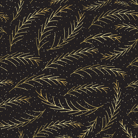Christmas tree branches seamless pattern. Hand drawn pine decoration vector background. Winter Xmas holidays texture for surface design, textile, wrapping paper, wallpaper, phone case print, fabric. Ilustrace