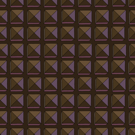 Hand drawn abstract chocolate vector seamless pattern. Stylized squares brown texture for surface design, textile, wrapping paper, wallpaper, phone case print, fabric Ilustrace