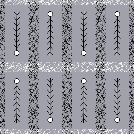 Hand drawn stylish minimalistic background in Scandinavian style. Abstract stripes and branches vector seamless pattern. Elegant texture for surface designs, textiles, wrapping papers, wallpapers, fabrics.