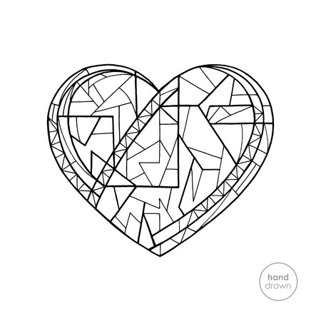 Heart coloring book. Hand drawn abstract love holidays vector illustration. Valentines day background in modern style. Holidays coloring page.