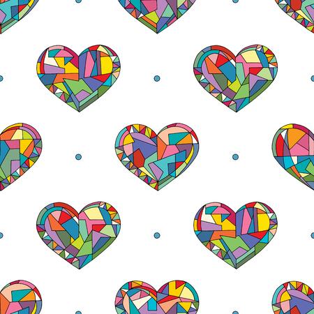 Reticolo senza giunte di vettore disegnato a mano di cuori. Fondo di feste di San Valentino in stile moderno. Adoro la trama geometrica per il design della superficie, il tessuto, la carta da imballaggio, la carta da parati, la stampa della custodia del telefono, il tessuto. Vettoriali