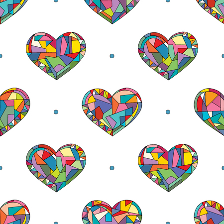 Serca ręcznie rysowane wektor wzór. Walentynki wakacje tło w nowoczesnym stylu. Uwielbiam geometryczną teksturę do projektowania powierzchni, tekstyliów, papieru do pakowania, tapet, drukowania etui na telefon, tkaniny. Ilustracje wektorowe