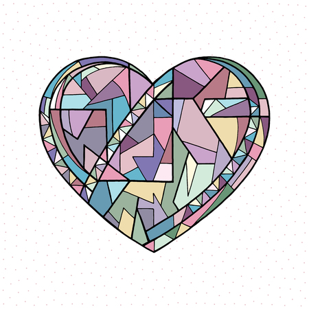 Heart hand drawn vector illustration. Valentines day holiday card. Abstract love background in modern style.