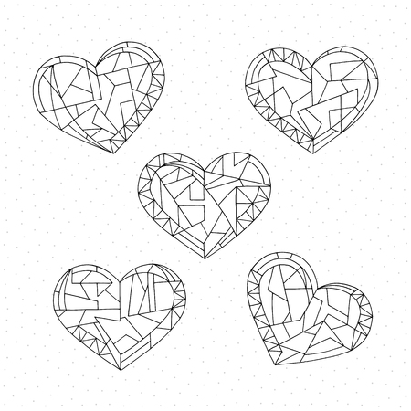 Hearts set coloring book. Hand drawn abstract love holidays vector illustrations. Valentines day background in modern style. Holidays coloring page.