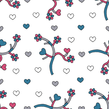 Abstract branches with hearts and flowers hand drawn vector seamless pattern. Spring drawing background. Love texture for surface design, textile, wrapping paper, wallpaper, phone case print, fabric.